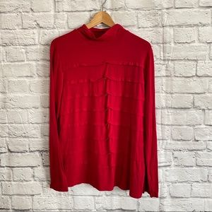4/$20🍄 TRIBAL Red Tiered Turtle Neck Top